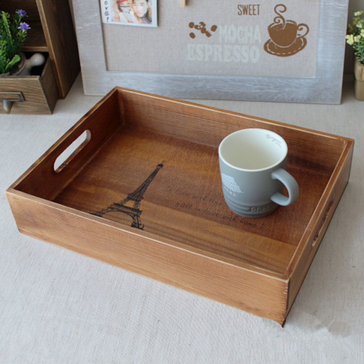 Vintage Wooden Tray 34*24.5*7CM(China (Mainland))
