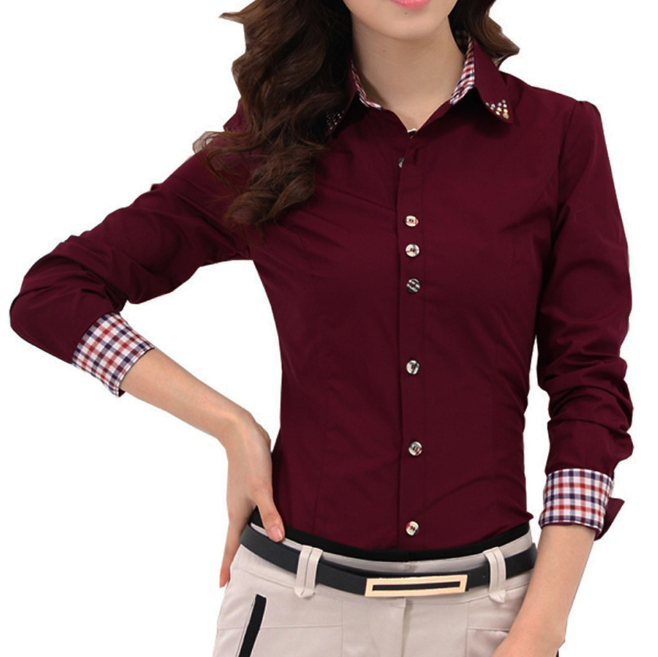 2016 Autumn Spring Women Shirt Patchwork font b Plaid b font ladies office shirts Basic Top
