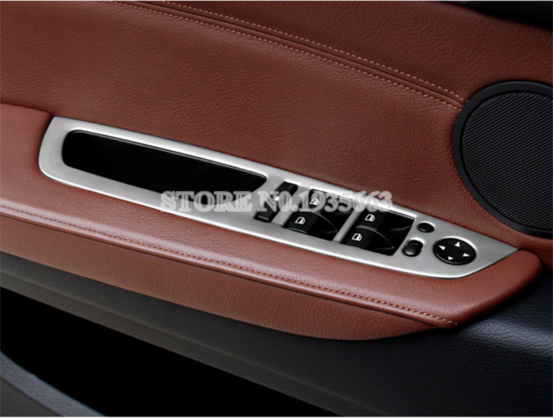 Inner Door Armrest Window Switch Button Cover Trim 4pcs For BMW X5 E70 2009-2013