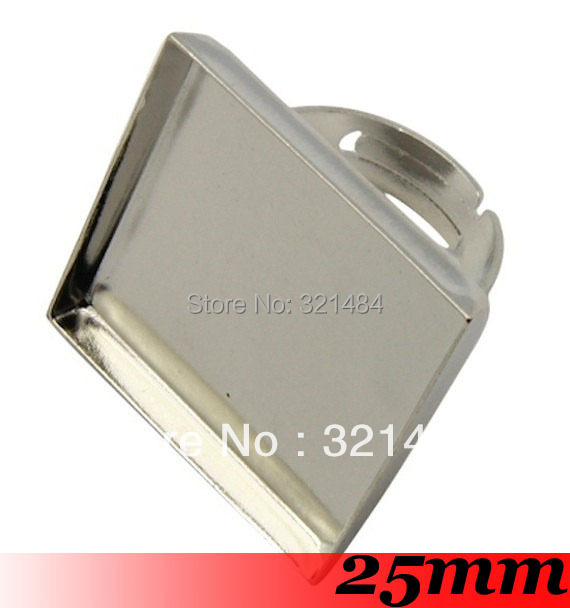 Dull Silver Plated 100pcs For 25mm Square Cabochons Setting Adjustable Ring Base Ring Blank Findings<br><br>Aliexpress