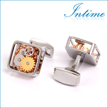 Silver Square Framed Steampunk Mechanism Cufflinks