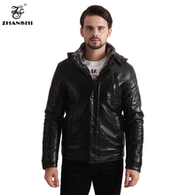 European Style Fashion Plus Size PU Leather Jacket Mens Winter Hooded Washed Leather Coats Artificial Fur Lining Free Shipping(China (Mainland))