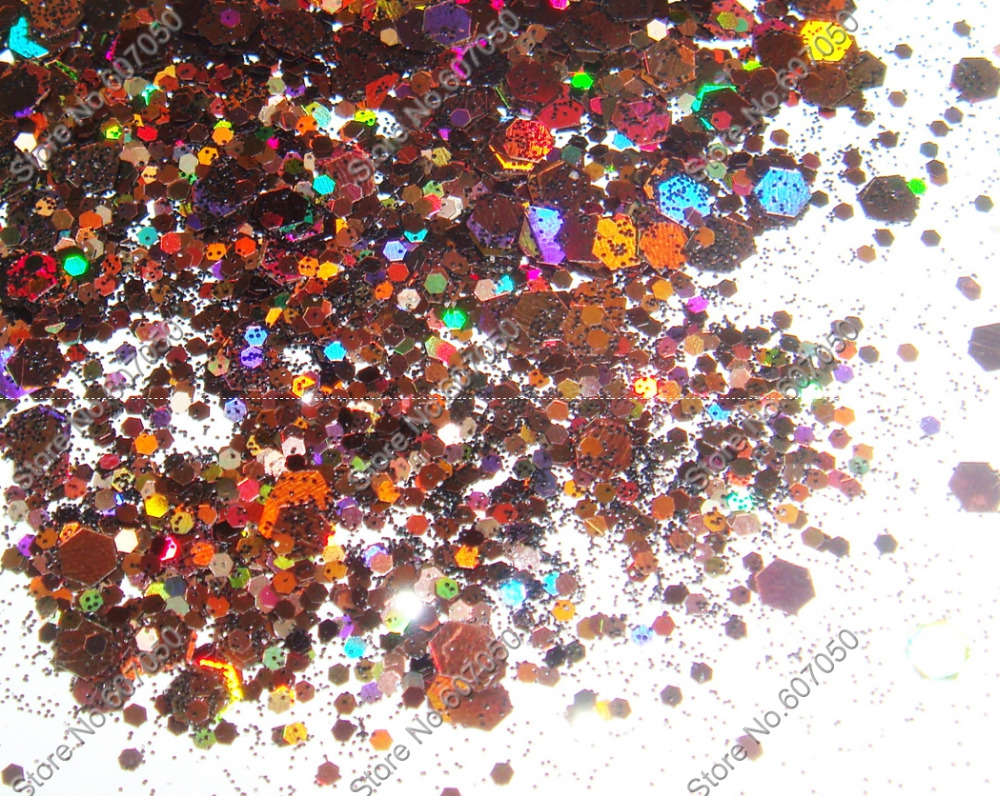 50gram/bag x Mixed Laser Coffee Colors Glitter Hexagon Paillette Spangles Shape for Nail Art Decoration&Glitter Crafts(China (Mainland))