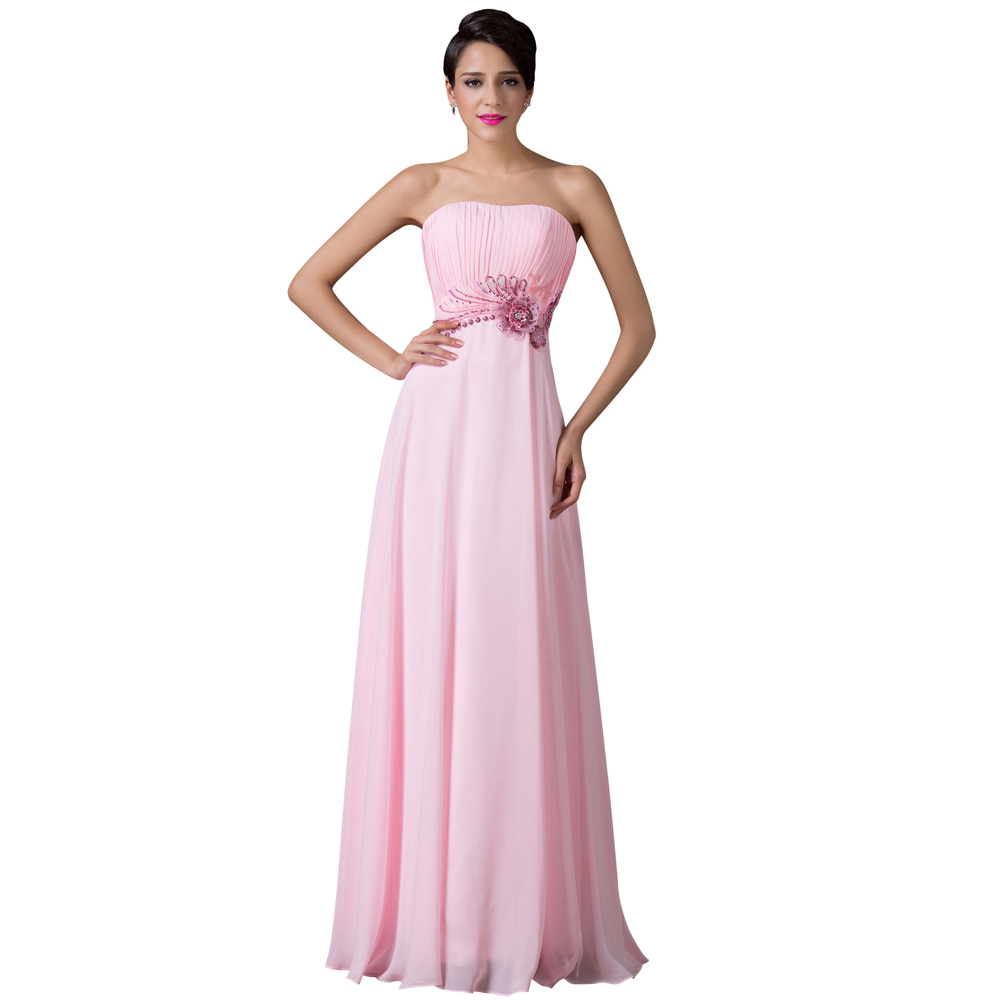 Grace karin strapless pink long chiffon party prom dress for Formal dress for wedding