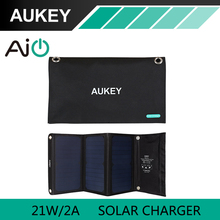 21W AUKEY Solar Charger with Dual USB Port Foldable, Portable Solar Panel for iPhone 6s 7 Plus, Android, Samsung, HTC, LG, Nexus(China (Mainland))