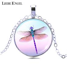 Buy LIEBE ENGEL Pretty Cute Dragonfly Crystal Cabochon Pendant Fashion Silver Color Chain Collar Necklace Women Elegant Jewelry for $1.47 in AliExpress store