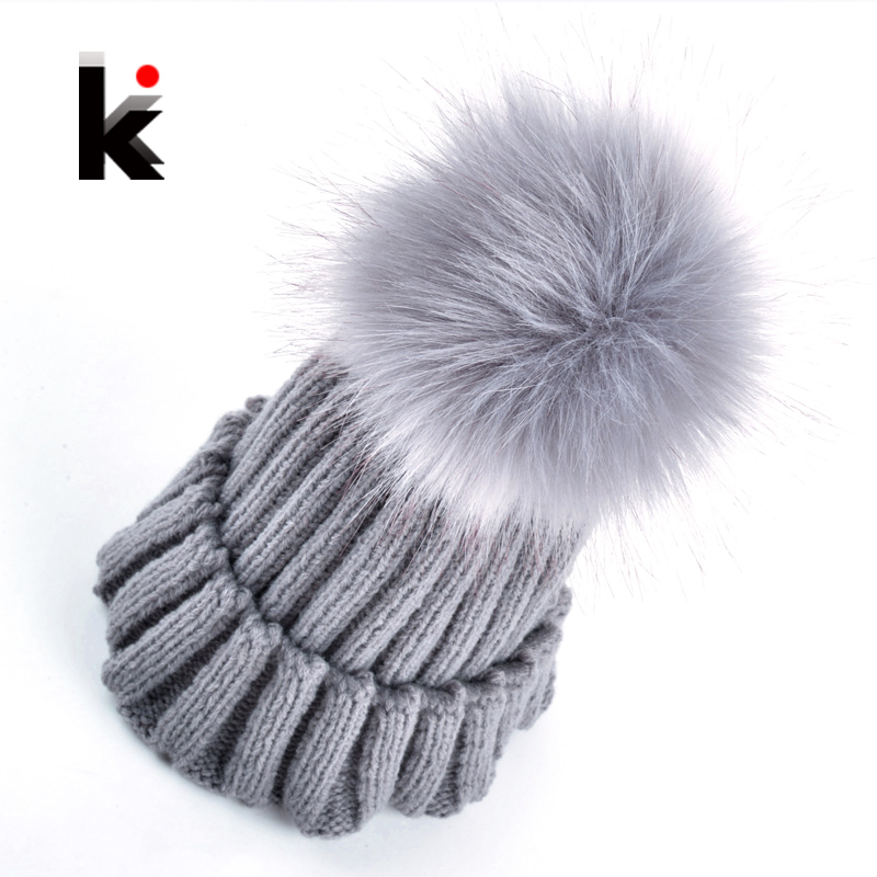 2016 New fashion women beanie hat imitation fur ball Knitting wool cap winter hats for women many colors(China (Mainland))