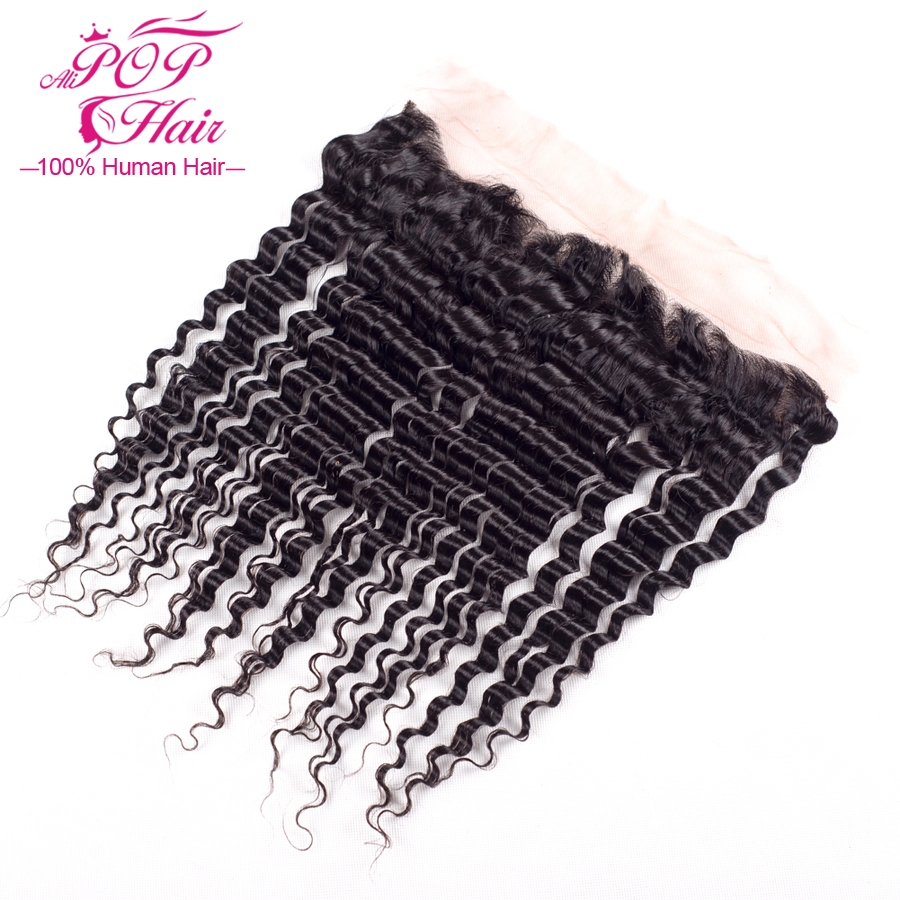 7a Indian Virgin Hair Lace Frontal Closure deep wave 13x4 Bleached Knots Best Lace Frontal Indain deep curly Full Lace Frontal