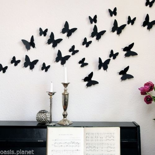 Wonderful Black Red White Art Design Decal Wall Sticker Home Decor Room Decorations 3D Butterfly Wall Decor(China (Mainland))