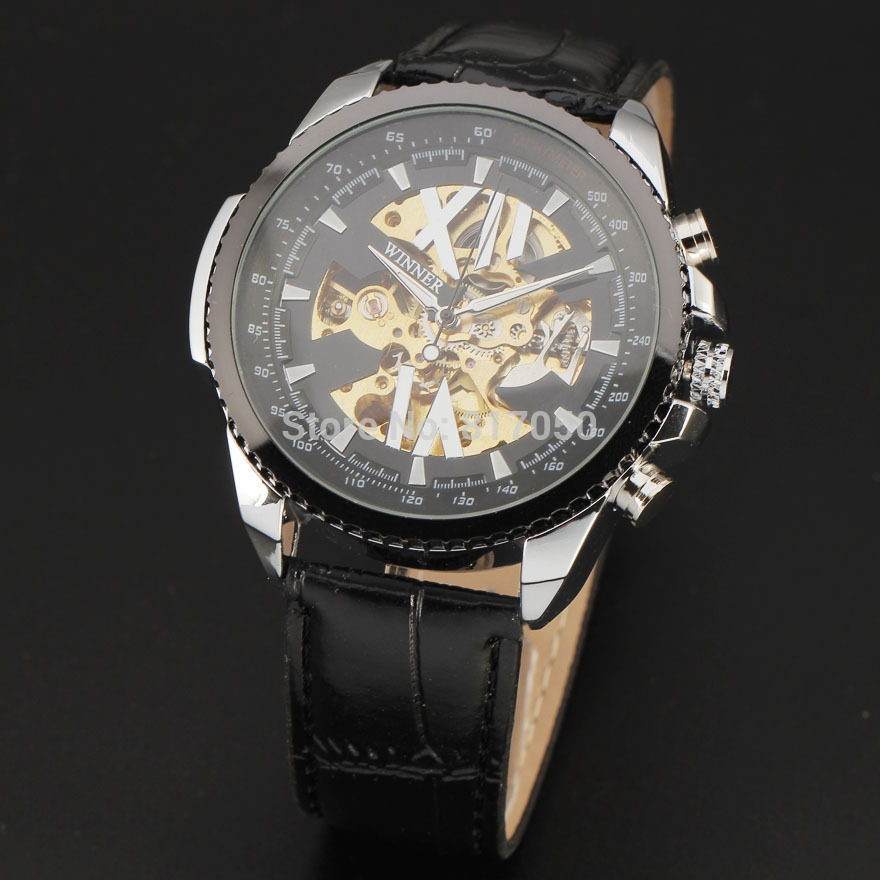 Top brand WINNER 2016 new skeleton military style leather strap watches men famouse mechanical automatic self-wind wrist watch<br><br>Aliexpress