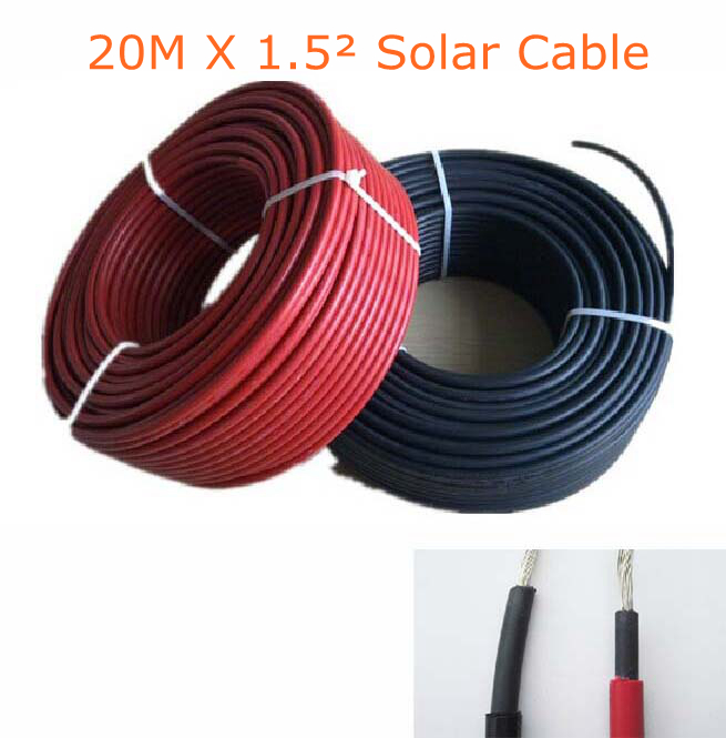20m/lot 1.5mm^2 PV cable 16AWG Solar Power Cable Solar Panel Electric Copper Wire Photovoltaic Cables Factory Price<br><br>Aliexpress