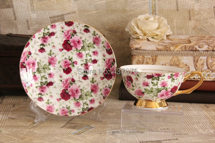 Free Shipping Floral Rose Afternoon Tea Cup Saucer Fine Bone China Drinkware Coffee Cup and Saucer