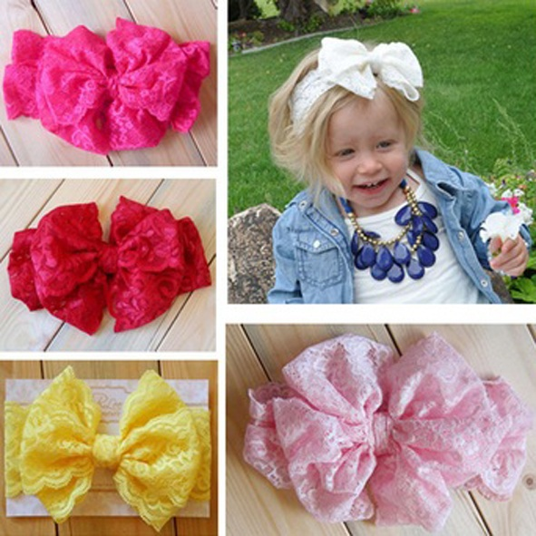 New style baby headbands Beautiful bowknot kids bands Cute lace bow for Newborn Toddler infant hair band 10pcs/lot HB358(China (Mainland))