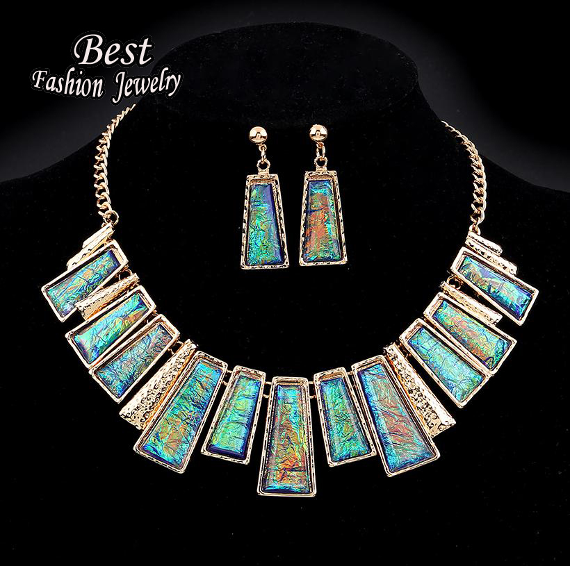 New Fashion Jewelry Set Green Rectangle With Colorful Pattern Series Link Gentle Lady's Necklace(China (Mainland))