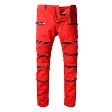 2017 Ant rabbi Style Biker Jeans Motorcycle zipper style elastic men jeans Slim Fit Washed pants Red colors destroyed Male pant(China)