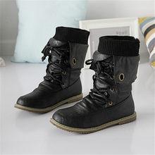 Asumer Più Il Modo di Formato Stivali Da Moto Caviglia per Le Donne Inverno Stivali Da Neve di Cuoio Dell'unità di elaborazione Stivali Flats scarpe nero marrone(China)