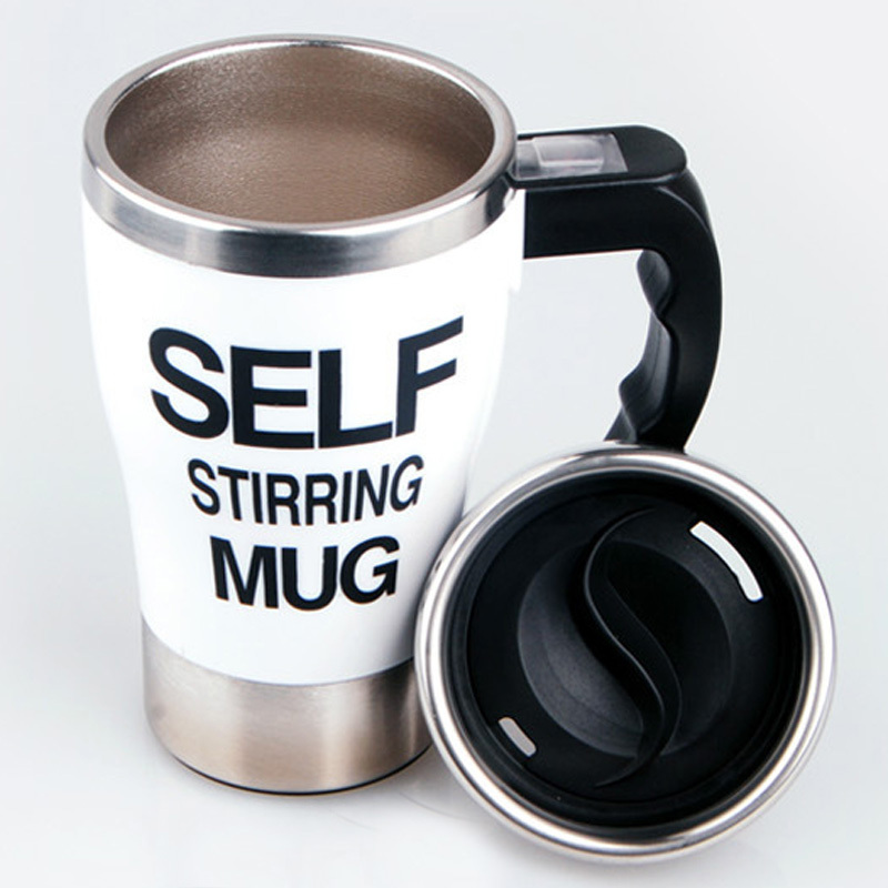 New Style 1 PC Automatic Plain Mixing Coffee Cup Lazy Self Strring Tea Mug 350ml Stainless Steel Wake Up Cups And Mugs With Lid(China (Mainland))