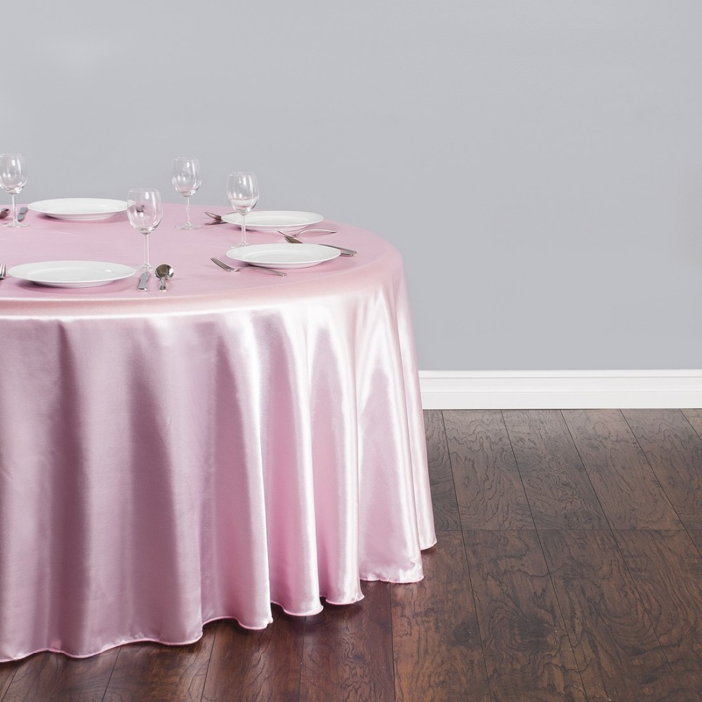 Fedex IE 118 in./300cm Round Satin Tablecloth Pink for Wedding Event Banquet Party 20/Pack(China (Mainland))