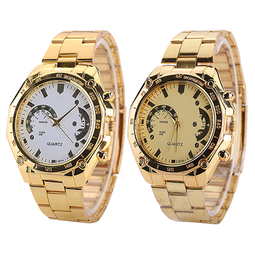 2015 New Arrival Womens Mens Golden Color Stainless Steel Band Analog Quartz Sport Wrist Watch  Present <br><br>Aliexpress