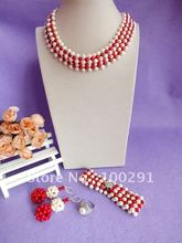 Free ship!!!new design fashion Luxury Bridal pearl jewelry set Red coral&freshwater pearl necklace bracelet earring ring set(China (Mainland))
