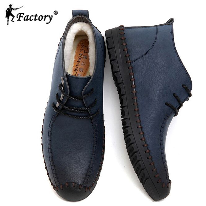 New arrival handmade men genuine leather boots for winter men cotton-padded boots black blue leather casual shoes(China (Mainland))
