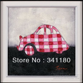 100% Handmade stretched cartoon transportation vehicle red car oil painting for kids room 35x35cm