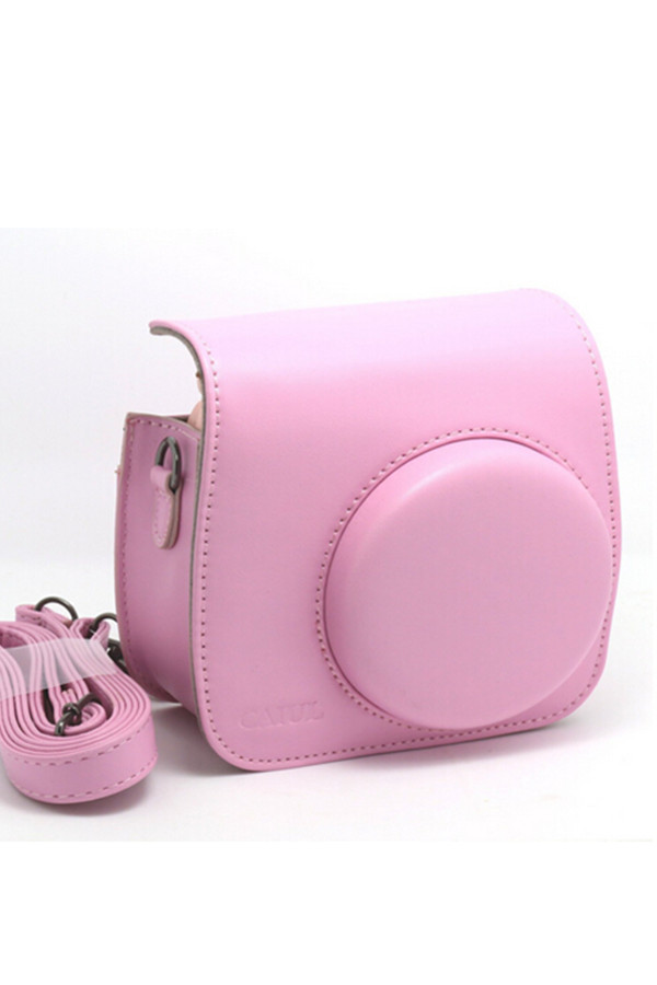 Pink Vintage Instax Mini 8 Camera Case Bag With Shoulder Strap, PU Leather, C814(China (Mainland))