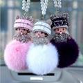 Cute monchichi sleutelhanger Pears fur pom pom keychain monchichi Plush Keychains Car Pendant Handbag cubre llaves