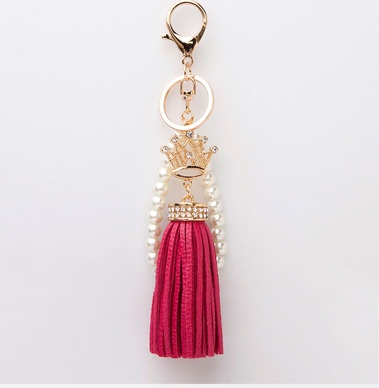 Brand Leather Tassel Keychain pearl Keyring Key Chains Women Bag Charm mobile cell phone accessory for lady girl PU leather(China (Mainland))