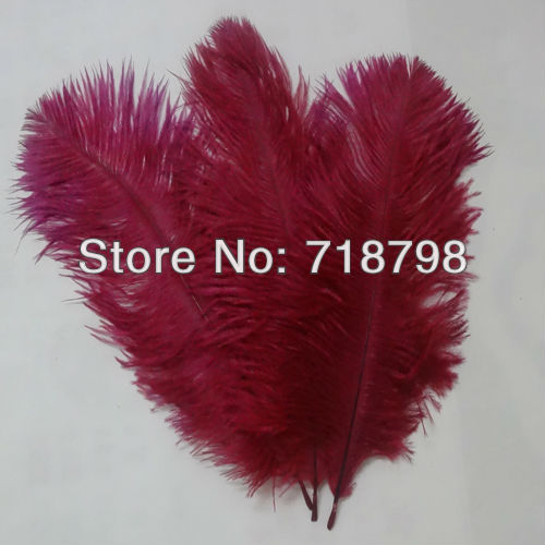 Free shipping Wedding Center pieces 100pcs/lot 15-20cm 6-8inch Dark Red Ostrich Feather Ostrich drab feathers(China (Mainland))