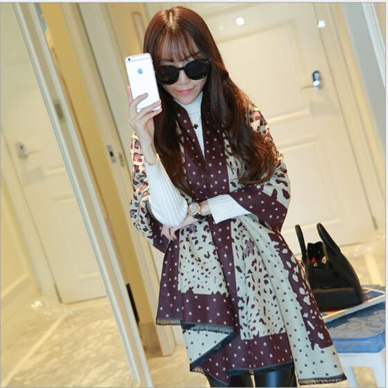 Hot Newest Cashmere Winter Scarf Women wild Leopard Grain Scattered shall Fashion Shawl Korean Lengthened Free Delivery A101(China (Mainland))