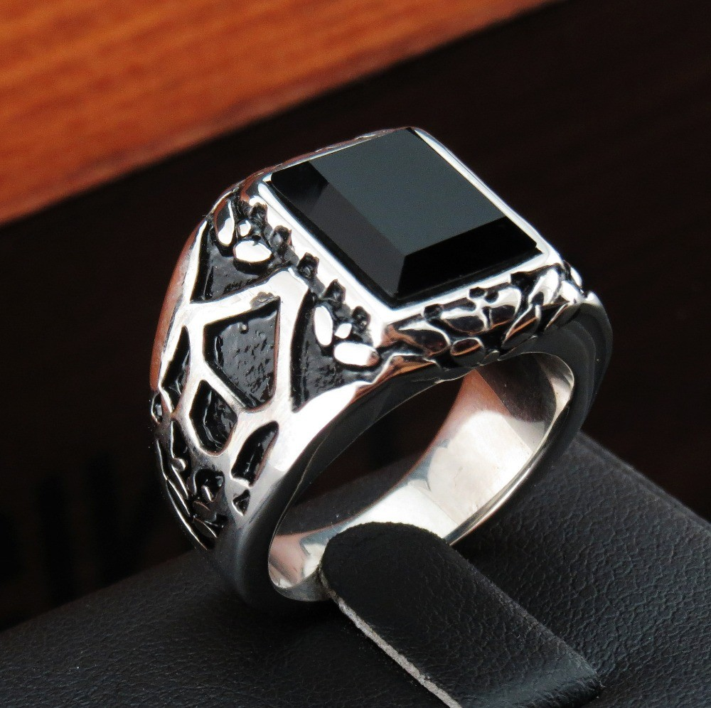 FIVETWOO-High-Quality-316L-rings-for-men-Stainless-Steel-With-Black-Onyx-Stone-Movie-Ring