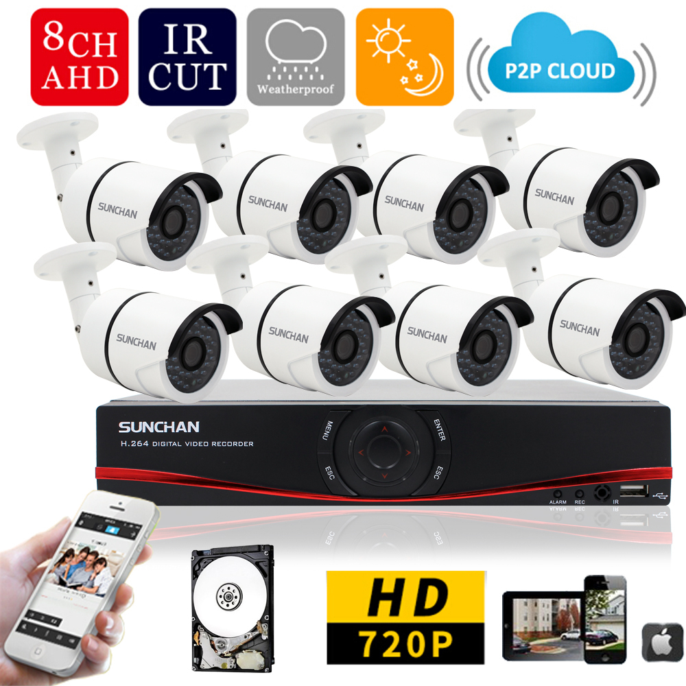 SUNCHAN 8ch AHD 720p Realtime Recording DVR System 1200TVL Outdoor Camera System 1080P HDMI for Home Video Surveillance 1TB HDD<br><br>Aliexpress