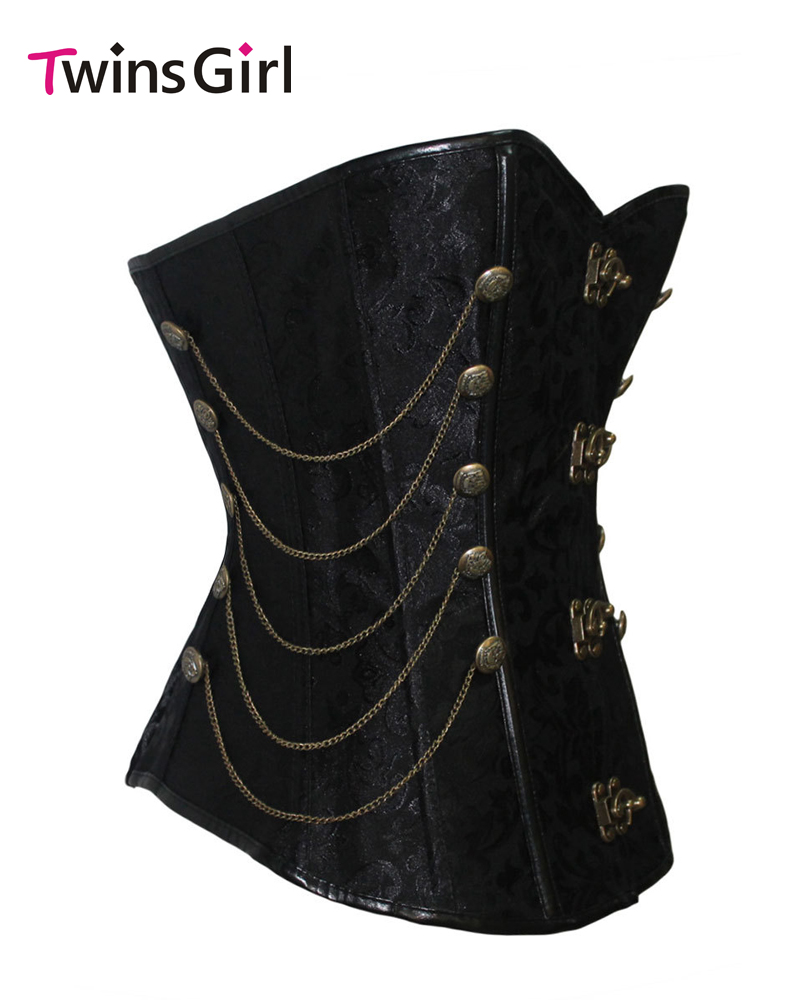2017 New Sexy Black Steampunk Style Over Bust Corset with Chain LC5327