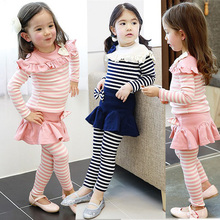 Spring Autumn style children cotton ribbon shirt and fake pants and mini dress suit kids clothing set for baby girls casual suit(China (Mainland))