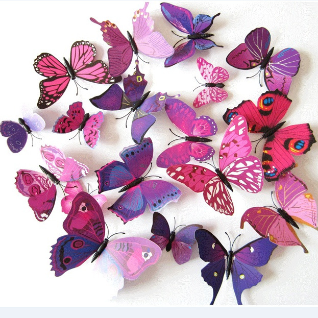 Fashion 12pcs Purple 3D PVC Butterfly Pin wall stikers for kids room Butterflies stickers for wall decoration DIY home Decor(China (Mainland))