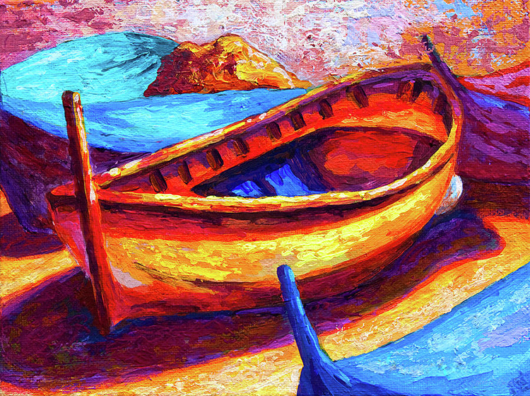 Free shipping abstract Oil painting on canvas printings by digital number Landscape boat for Home Decoration