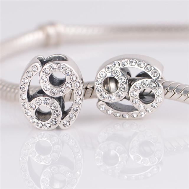 2015 повезло знак стерлингового серебра 925 Jewerly рак бусины с камнями камни подходит европейским очаровывает браслеты для женщин DIY