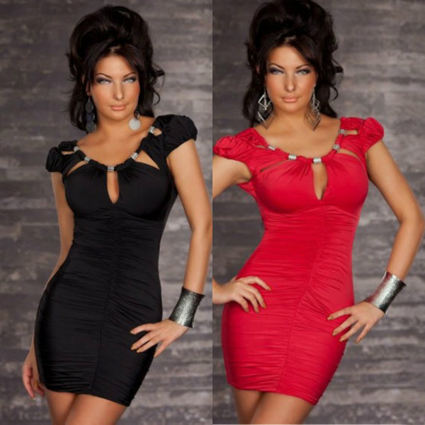 Sexy Women's Dress Clubwear Cut out top Scrunched Dress Red/Black Plus Size Party Dresses(China (Mainland))