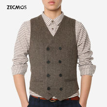 Elegant Photographer Reporter Vest Men With Pockets Brown Waistcoat Fitness Formal Works Wear Double Breasted Western Stylish(China (Mainland))