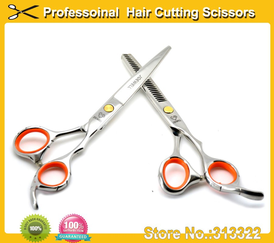 1SET/LOT Japanese Joewell Hairdressing Scissors 5.5 INCH Hair Cutting and Thinning Scissor Anti-slip handle come with a case(China (Mainland))
