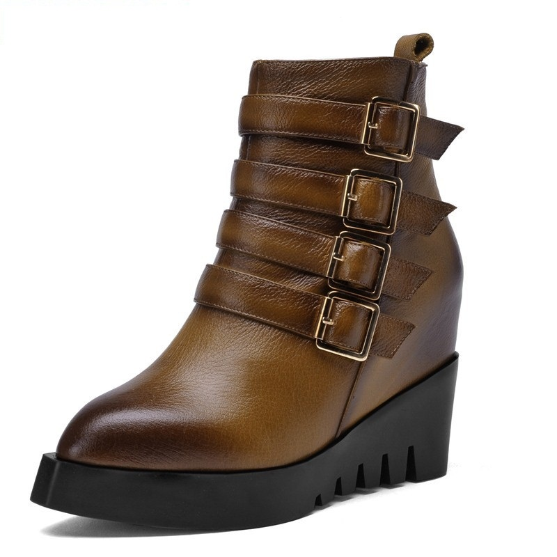 2015 British style women winter shoes genuine leather platform wedges high heel boots belt buckle ankle woman - story store