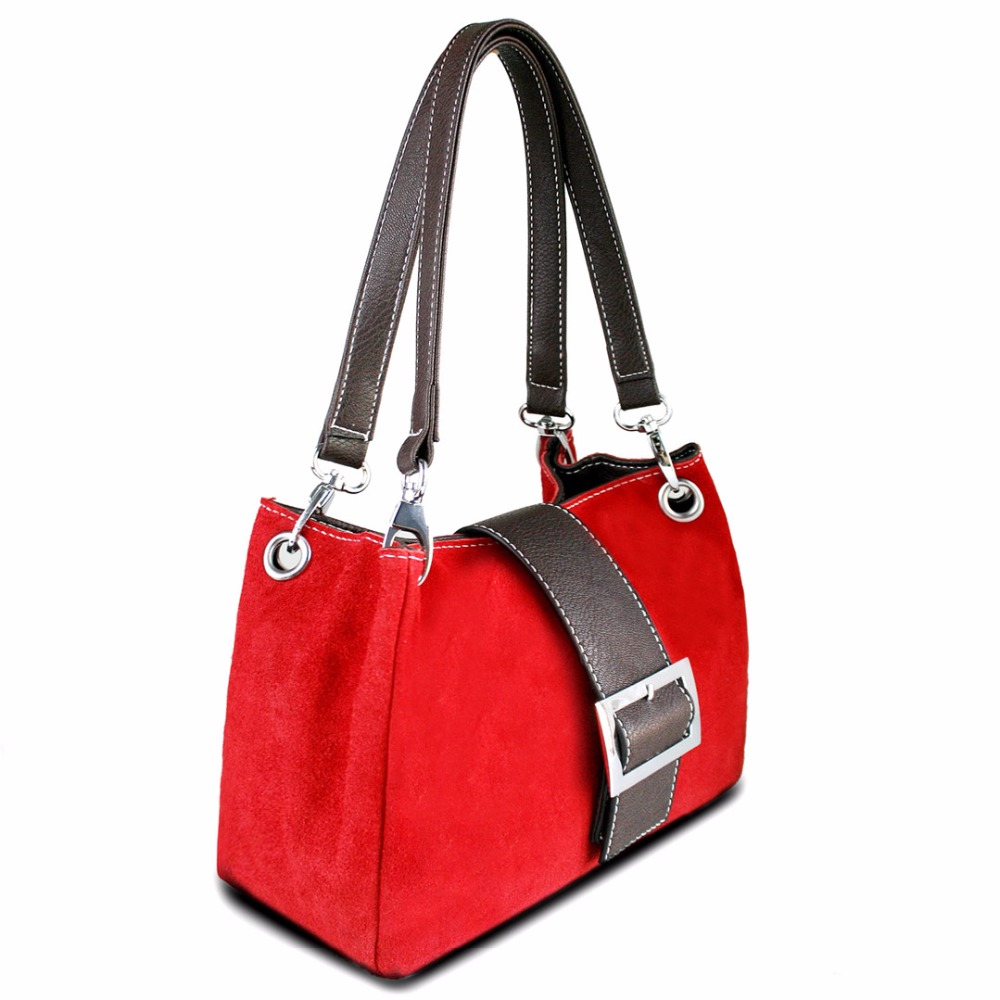 Miss Lulu Women Real Suede Leather Handbag Top Handles Tote Hand Bag Red Small Size Belt Front Vintage Style(China (Mainland))