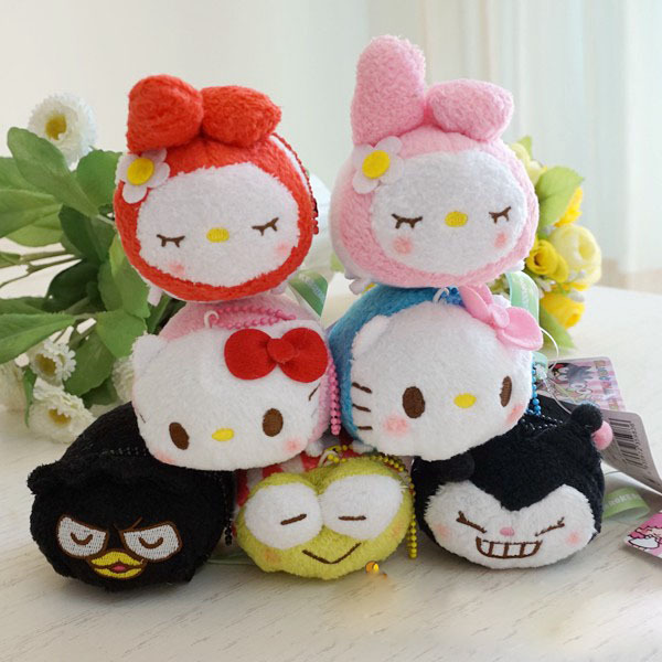 2015 New Arrival Tsum Tsum Fashion Doll Sanrio Melody Hello Kitty KT cat small plush toy Animal toys for kids pink red white(China (Mainland))