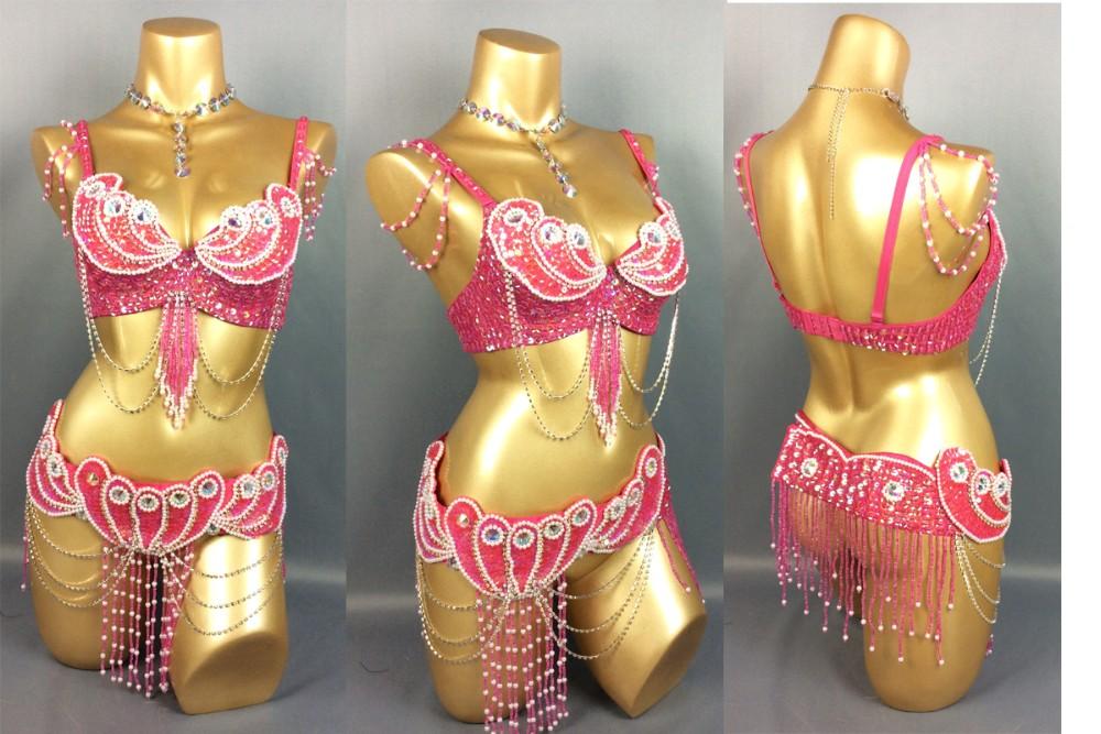 mede למדוד חדש ריקודי בטן תלבושות סט חזייה(40D)+חגורה 2piece/ סט ,לקבל בכל גודל