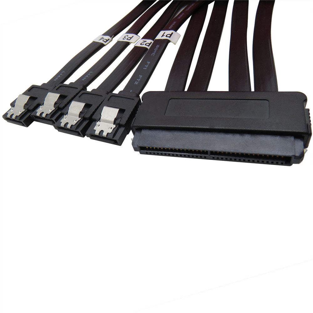 32 Pin SFF 8484 to 4 x 7 Pin Internal SAS Cable Serial Attached SCSI Cable 50cm(China (Mainland))