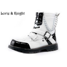 Mens White Leather Martin Mid-Calf Boots Lace Up Buckle Strap Punk Rock Boots Military Boots with Chain