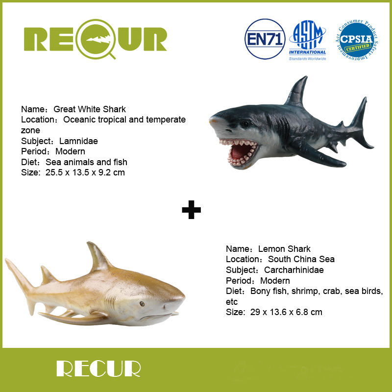 2 Pcs/Lot Recur Toys Lemon Shark+Great White Shark Sea Life Model PVC Hand Painted Marine animal Figures Toys Gift Collections(China (Mainland))