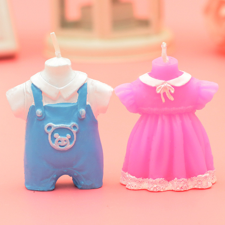 party candles pink blue baby shower favor baby girl boy dress candle
