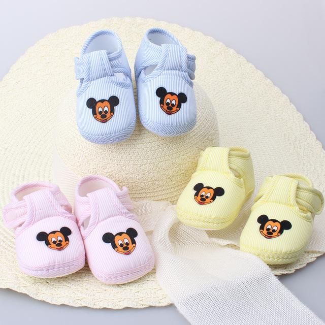 T2016 весна осень обуви малыша ребенка симпатичные микки площадь рот малыша не - нескользящей свободного покроя детская обувь розовый синий желтый